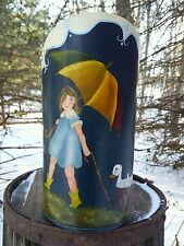 VTG Hand Painted Metal Scoop Folk Art Morton Salt Girl Handled Heavy Industrial