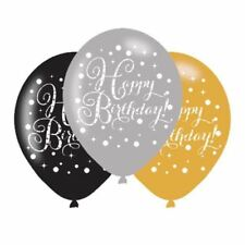 Oro Celebrazione Happy Birthday Palloncni in Lattice 27.9cm - 6 Conf