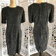 80s Vintage Sequin Black Dress Stenay Beaded Dress 12 1980s