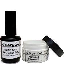 Gel Acrylic nail Kit Self Leveling Brush-On Gel Clear Powder UV LED DIY sheba