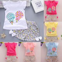 Toddler Kids Baby Girl Outfits T-shirt Tops+Shorts Pants Casual Clothes Set AU