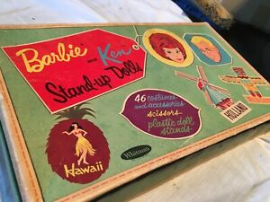 1960s  WHITMAN BARBIE & KEN STAND-UP DOLLS with traveling case