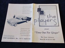 Vtg Lansing Civic Players Program MI 1955 Olds 98 Ads Time out for Ginger   A53
