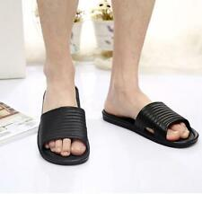 Man Stripe Flat Bath Slippers Summer Sandals Indoor & Outdoor Slippers Black 45