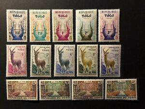 TOGO 1959 WILD ANIMALS , DEERS ,TREES , Sc 350-363 , MNH **