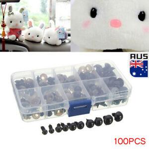 100pcs Black Plastic Safety Eyes for Teddy Plush Doll Puppet DIY Craft 6-12mm AU
