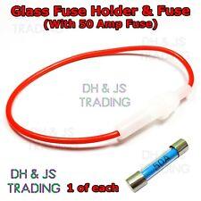 40 x INLINE 30MM GLASS FUSE HOLDER WHITE INLINE AGC SPLASH PROOF  FU10