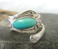 Sterling Silver and Sky Blue Turquoise Spoon Ring U.S. Size 7.5