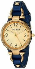 (NEW) Akribos XXIV Women's AK761BU Thin Strap Blue/Gold-Tone Base Metal Watch