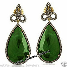 Artdeco Estate 3.89cts Pave Rose Diamond Emerald Studded Silver Jewelry Earring