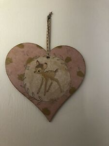 Handmade Wooden Bambi Deer Large Hanging Heart Decoration Plaque Gift