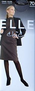 Elle Chic 70 Denier Ribbed Tights Black Grey Navy Bottle Green Large / One Size