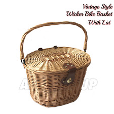 BICYCLE WICKER BASKET SHOPPING BAG WITH LID BIKE CYCLING CARRY HANDLE
