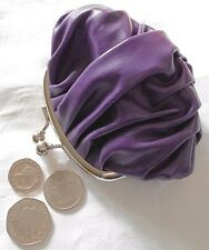 Purple soft leather-look coin purse 12cm x 11cm