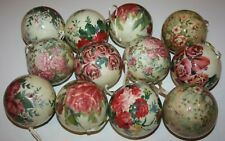 12 Vintage Christmas Ornament Ball Lacquer Paper Mache Flowers Roses Easter