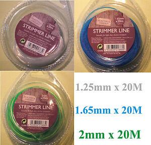 20/15M NYLON STRIMMER LINE WIRE lawn electric TRIMMER garden Grass 1,25 1,65 2mm
