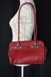 Leslie Fay Red Faux Leather 2 Strap Should Bad Purse Cell Phone Case Pockets