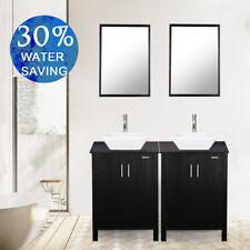 "48"" Bathroom Vanity Cabinet 2 Pcs 24"" Vessel Ceramic Sink Single Top W/ Faucet"