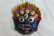 M844 Nepalese well Crafted Wall Hanging Metal art decor Multi color Bhairav MASK