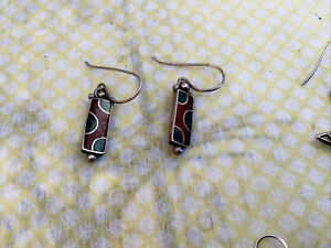 Three Pairs Silver Earrings Vintage