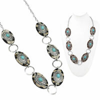 """30"""" SOUTHWEST LEOPARD LONG WESTERN COWGIRL TURQUOISE concho silver NECKLACE SET"""