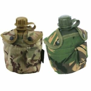British Army Style Military Water Bottle Canteen Camouflage Belt Pouch Camping