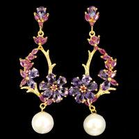 Unheated Pear Amethyst 6x4mm Ruby Pearl 925 Sterling Silver Flower Earrings
