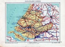 Antique map Zuid Holland traffic Netherlands 1936