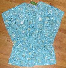 NWT Lilly Pulitzer Maribeth Caftan Top Silver Dollars Seashell M fits 8 10 12