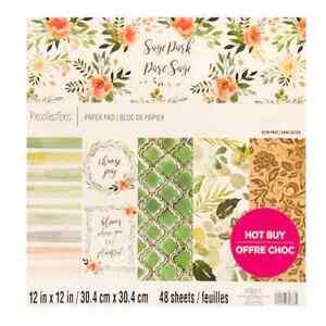 "Cardstock Scrapbook Paper Pad SAGE PARK 48 Sheets 12x12"" Flowers Leaves Foil"