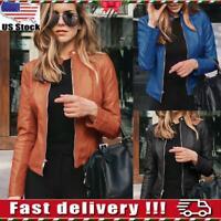 Womens Ladies PU Leather Biker Jacket Open Zipper Short Coat Shrug Cropped Tops