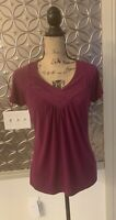 The Limited Shirt Womens Blouse Medium M Purple V Neck Short Sleeves Stretch Top