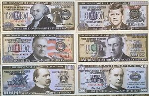 PLAY MONEY NOVELTY BUCKS $500 - $1,000,000,000,000 SET OF (6) DIFFERENT FROM USA