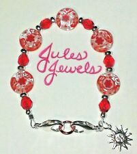 Millefiori & Czech Glass Red & White Medical Alert ID Bracelet.