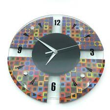 "Retro Glass Wall Quartz Clock Artistic Art Deco 13"" Round Rainbow Psychedelic"