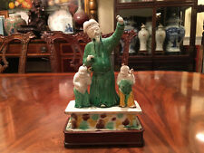 New listing A Rare Chinese Qing Dynasty Kangxi Ceramic Statue with Wooden Stand.