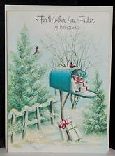 Vtg 50s UNUSED Gibson Christmas Greeting Card Mother and Father Glitter Scene