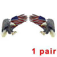 Two Bald Eagle USA American Flag Sticker Car Truck Window Bumper Decal Cooler