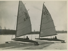 "Ice sailing regatta, ""Polarfuchs"" and ""Eisvogel"" Vintage silver print Tirage a"