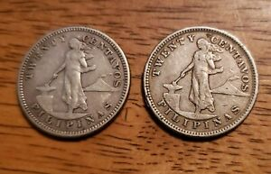 Philippines Lot of 2(1904-S & 1903) 20 Centavos Silver Coins
