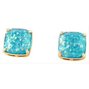 Kate Spade New York Mini Aqua Blue Glitter Square Studs