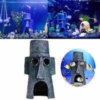 Aquarium Landscaping Decoration SpongeBob House Aquatic Fish Tank Ornament KQ
