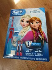 Frozen Oral-B Toothbrush 3 brush heads, charger, Crest ToothPaste New In Box