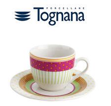 SET 6 TAZZINE 6 PIATTINI CAFFè TOGNANA IN PORCELLANA NEW BONE CHINA