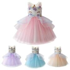 Flowers Kids Girls Unicorn Bridesmaid Pageant Party Formal Tulle Tutu Vest Dress