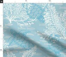 Sea Turtles Beach Ocean Fish Tropical Blue Fabric Printed by Spoonflower Bty