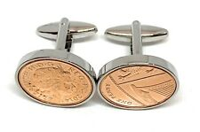 More details for 7th copper wedding anniversary cufflinks - 1p coins from 2014 gift ht