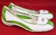 WALTER GENUIN WOMAN GOLF SHOES WHITE GREEN LEATHER WITH GOLDEN METAL SZ 38/7.5