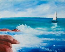 """White Sail  Natasha Petrosova original oil painting Impressionism 11""""x14"""""""
