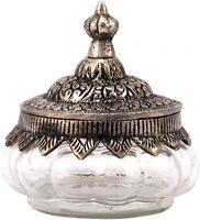 Bonbonniere Bonboniere Dose aus Glas mit Metall Marokko Orient Ethno Handarbeit